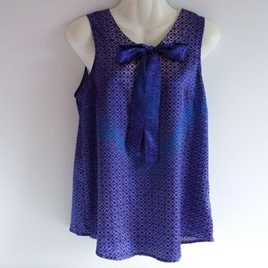 Limited Iridescent Blue & Purple Print Top w/ Bow